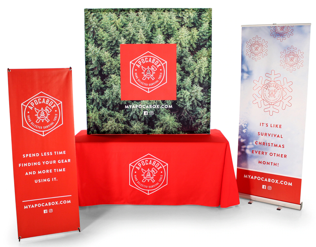 Custom Tablecloth for Tradeshow along with a Few Custom Printed Banners